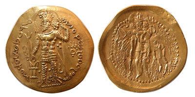 PCW-I1563-KUSHANO-SASANIAN KINGS. Peroz I Kushanshah. Gold. Lovely strike. Rare.