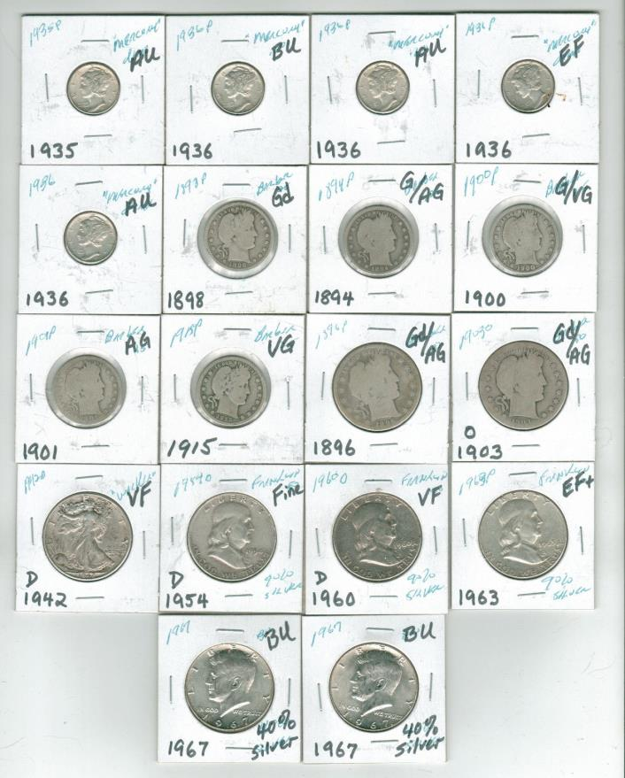 Lot of 18 US Silver Coins 5 Mercury 7 Barber 1 Walker 3 Franklin 2 Kennedy