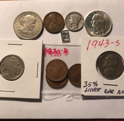 Mix  LOT of  9  OLD  U.S. Type  Coin  Collection  with  some  90%35 % Silver