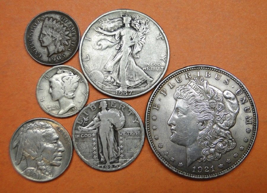 6 CLASSIC VINTAGE COINS = 4 SILVER; 1 NICKEL; 1 COPPER = SOME GREAT COINS