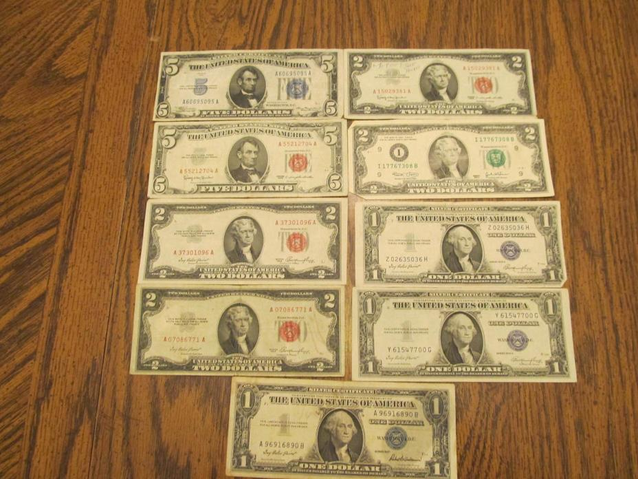 mix of 9 silver certificates and frn s