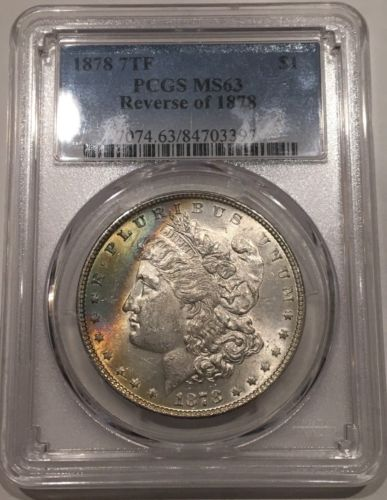 1878 Morgan Dollar PCGS MS63*Crescent Rainbow Toned Obverse*