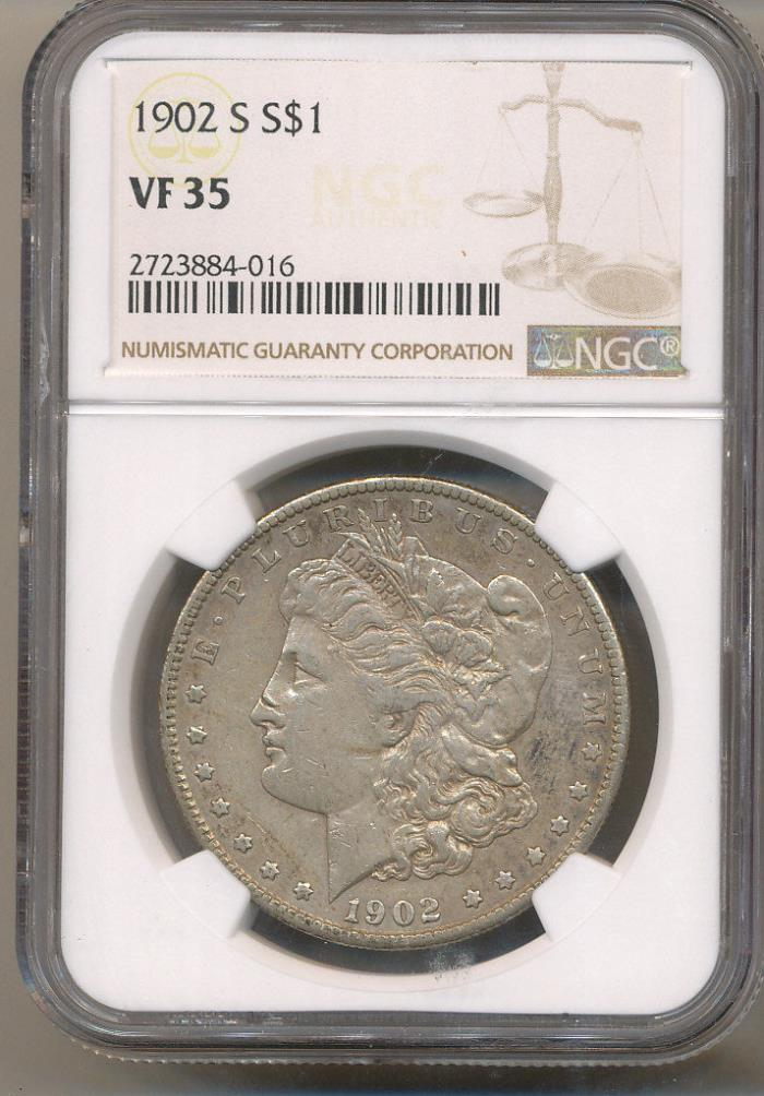 1902-S NGC VF35 Very Fine Morgan Silver Dollar close to EF Extra Fine XF