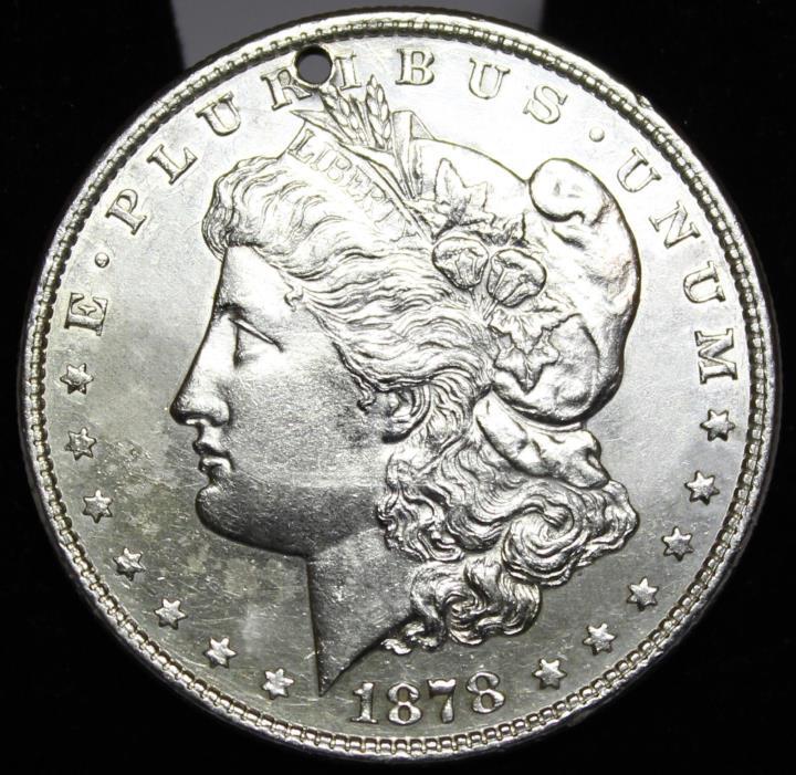 1878 8tf Morgan Silver Dollar BU Holed