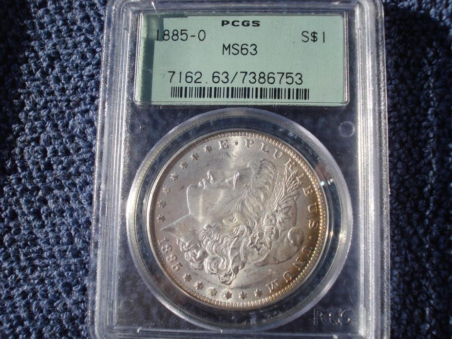 1885 O MORGAN SILVER DOLLAR PCGS MS 63 OLD GREEN HOLDER