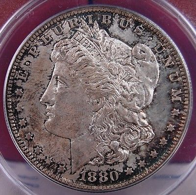 1880 S MORGAN DOLLAR (YELLOW) ANACS MS 63 CRUSTY WITH A BIT OF COLOR