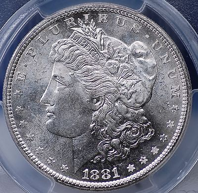 1881 S MORGAN DOLLAR PCGS MS 64 FLASHY WHITE WITH A TOUCH OF HAZE