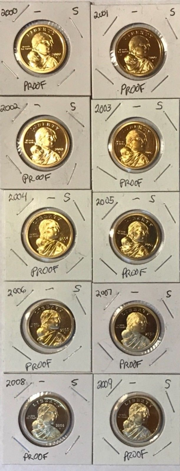 2000-2009 Proof Sacawagea Dollars: Gem Proof: Set of 10 coins:From US Proof Sets