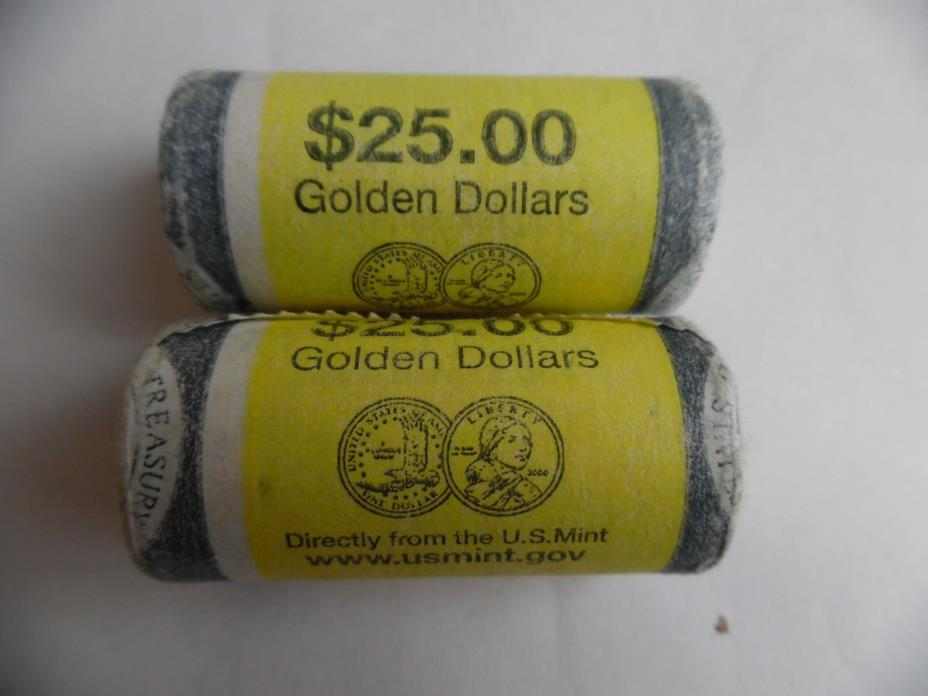 2000 P.& D. GOLDEN DOLLARS ROLLS ISSUED FROM U.S. MINT - 2 ROLLS