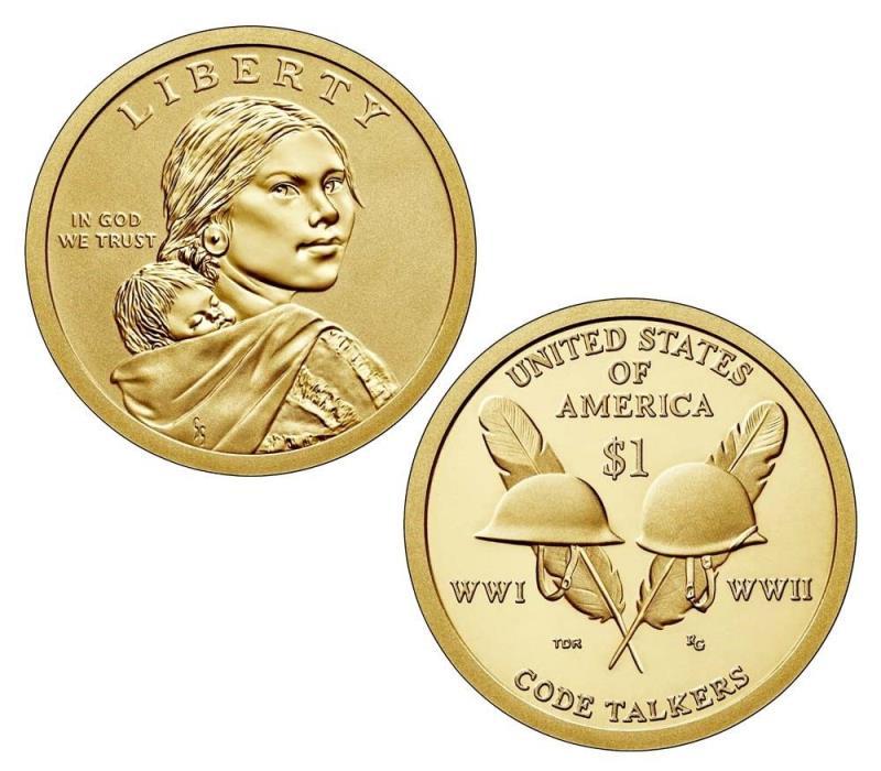 2016 P&D Native American Sacagawea Dollar 25 Coin Mint Roll WWI, II Code Talkers