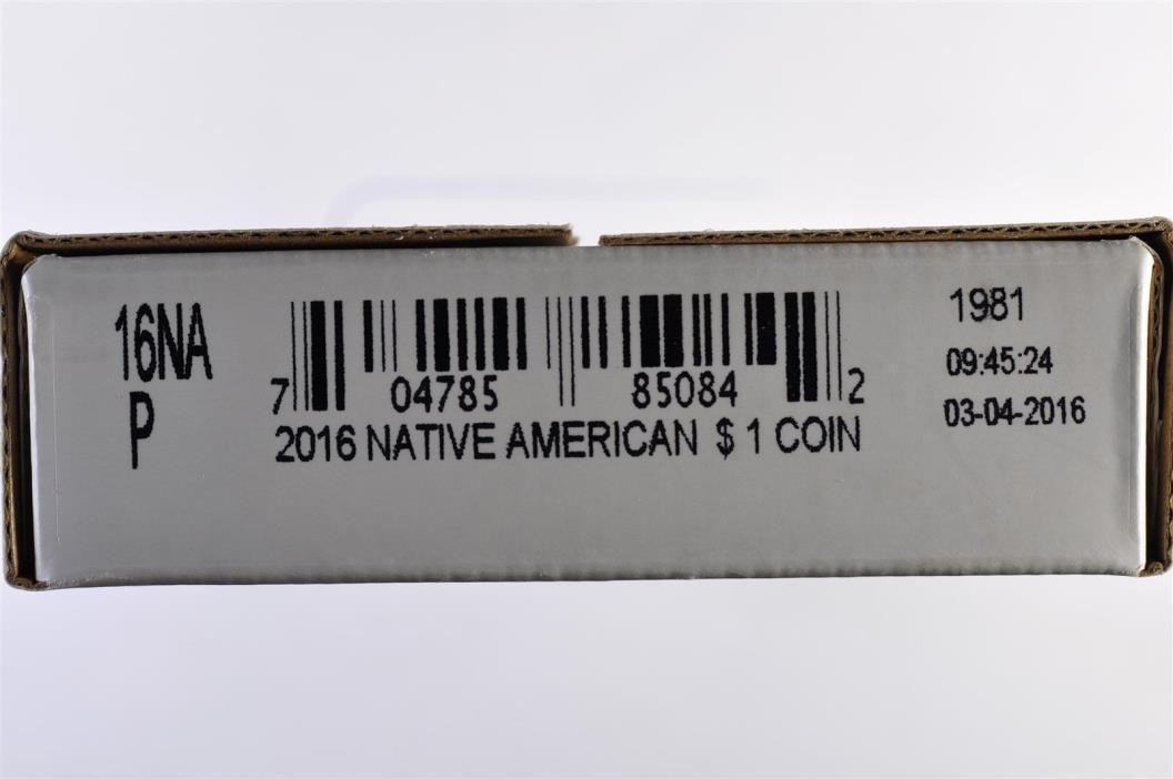 2016 P Native American Sacagawea WWI&II Code Talkers 25 coin roll - unopened box