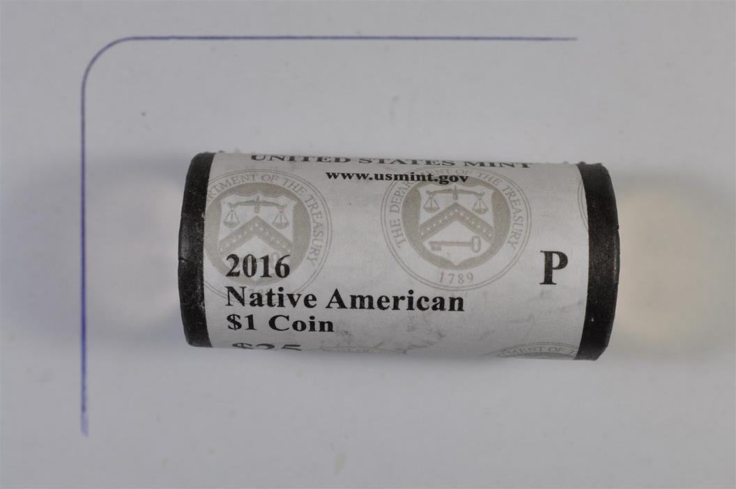 2016 P Native American Sacagawea Dollar 25 Coin Mint Roll WWI, II Code Talkers