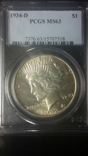 1934-D $1 PEACE SILVER DOLLAR. PCGS MS63