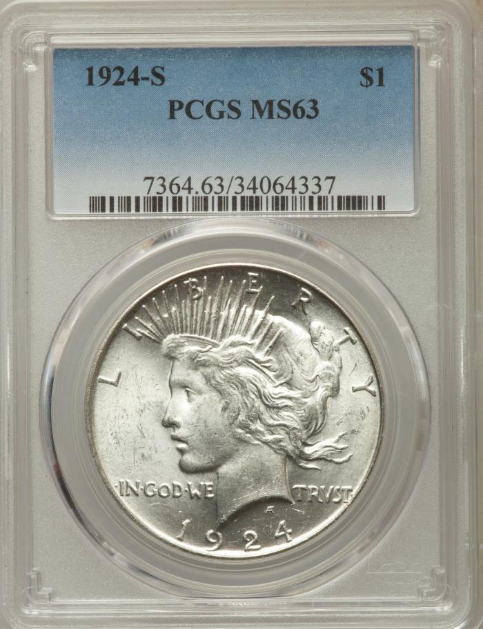 1924 S SILVER PEACE DOLLAR PCGS MS63 63 UNC BLAZER FREE SHIPPING GEM