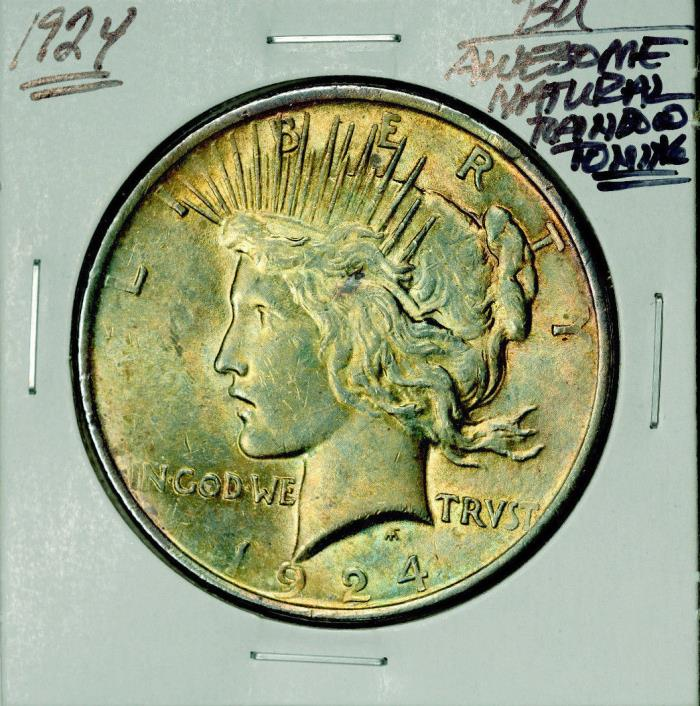 1924-P Peace Dollar Awesome Natural Rainbow Toning