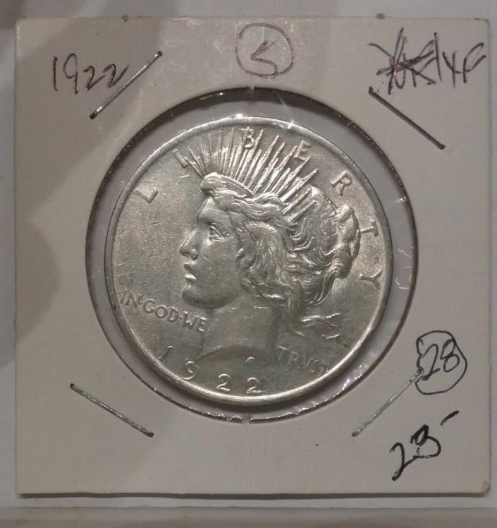 1922 P  XF Peace Dollar Early Liberty 90% Silver Coin #5