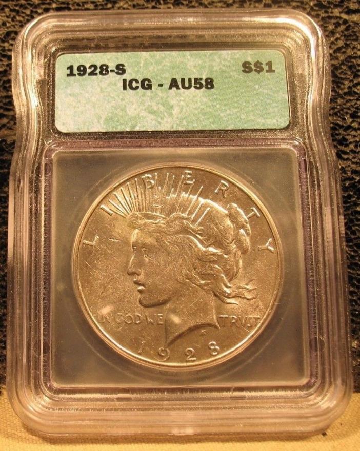 1928S Peace Dollar - AU58 - ICG
