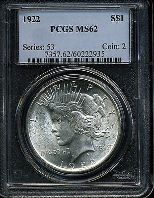 1922 $1 Peace Dollar MS62 PCGS 60222935