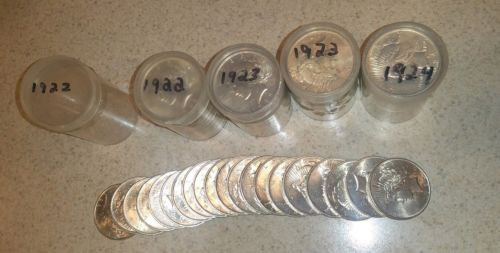 1 Roll of Twenty (20) Uncirculated Peace Silver Dollars 1922 - 1924 You Pick.