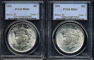 1922 and 1923 $1 Peace Dollar MS63 PCGS 60222925 & 60222940 (Lot of 2)