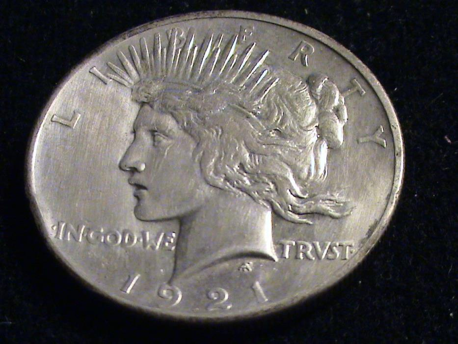 1921 P Peace Silver Dollar, key date, rim ding      S707