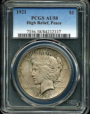 1921 $1 High Relief Peace Silver Dollar AU58 PCGS 84232337