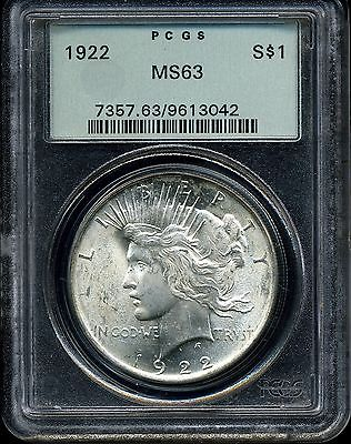 1922 $1 Peace Silver Dollar MS63 PCGS 9613042