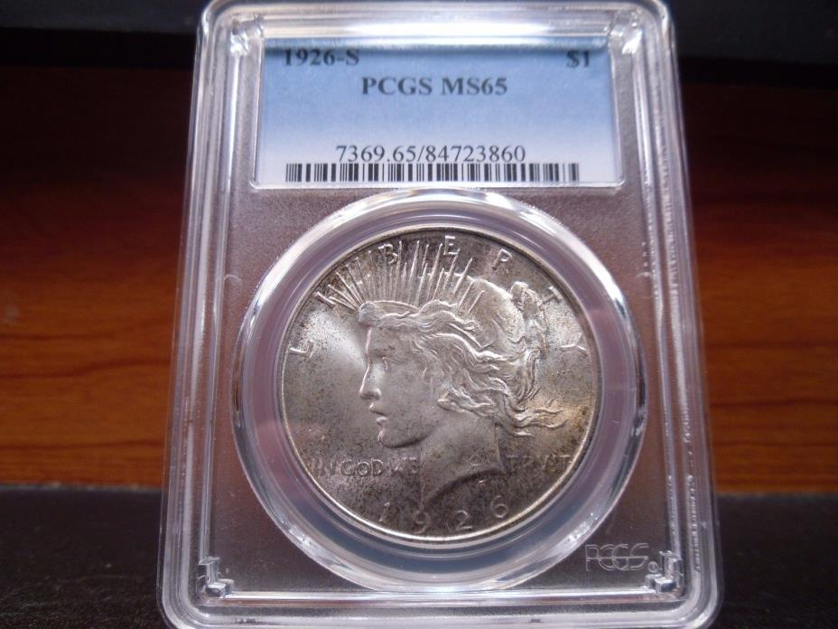 1926-S MS65 Peace Dollar PCGS Certified Gem - Lightly Toned