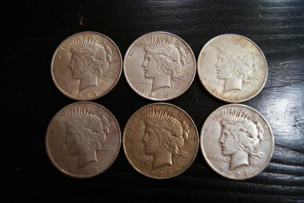 1922-1924 PEACE SILVER DOLLARS - VERY FINE - 90% SILVER