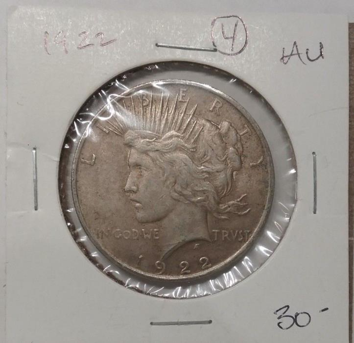 1922 P  AU Peace Dollar Early Liberty 90% Silver Coin #4