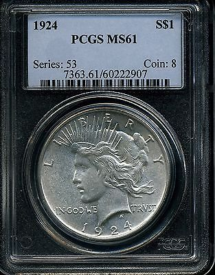 1924 $1 Peace Dollar MS61 PCGS 60222907