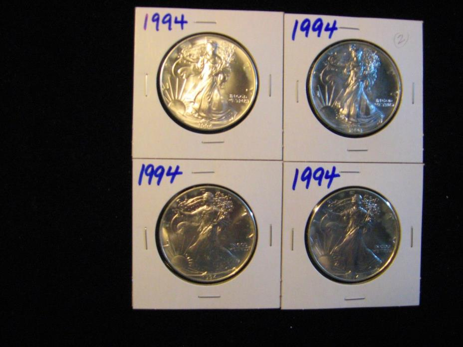 4 PCS 1994 AMERICAN SILVER EAGLE.  MINT NEW! FROM ORIGINAL ROLL!  FREE SHIPPING