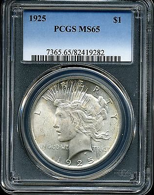1925 $1 Peace Silver Dollar MS65 PCGS 82419282