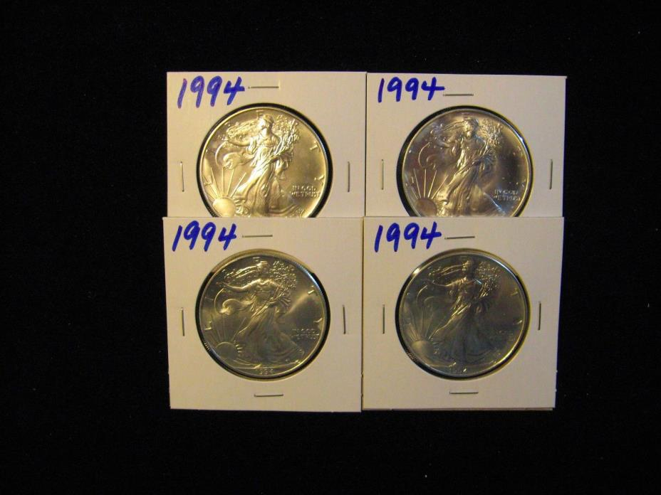 4 PCS 1994 AMERICAN SILVER EAGLE.  MINT NEW FROM ORIGINAL ROLL.  FREE SHIPPING