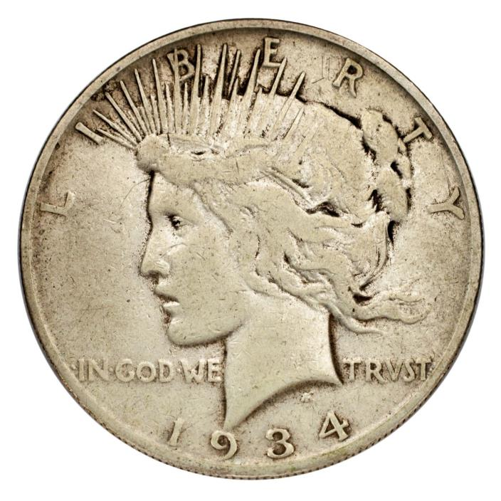 1934-S Silver Peace Dollar $1 (Fine, F Condition) Nice Detail