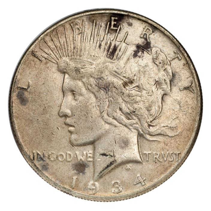 1934-S Silver Peace Dollar $1 (Fine, F Condition) Natural Color