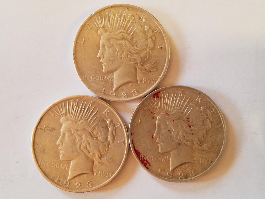 3 PEACE DOLLARS  (1923-P)