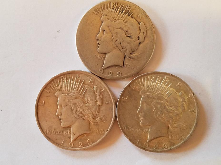 3 PEACE DOLLARS (1923-P, 1923-P, 1923-S)