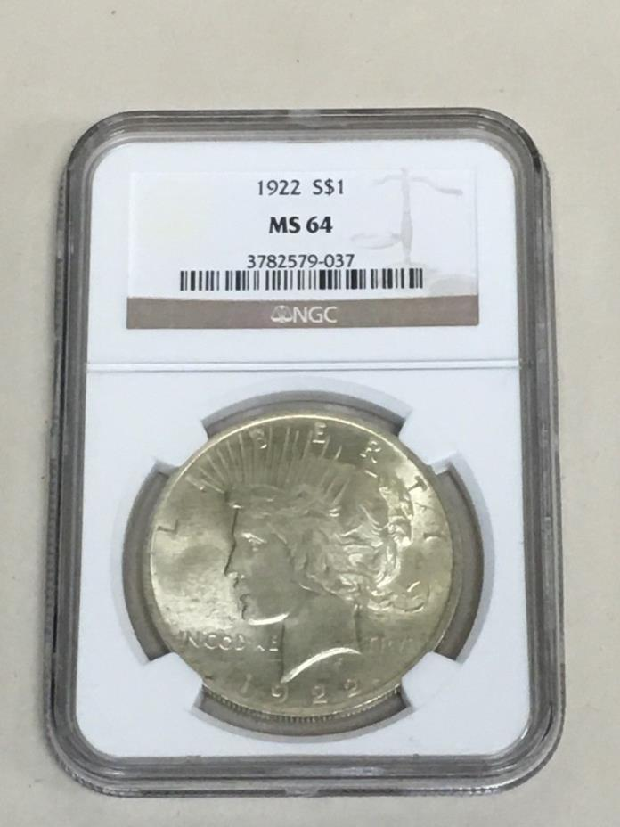 1922 $1 Silver Peace Dollar NGC MS-64 Certified Graded FREE SHIPPING!