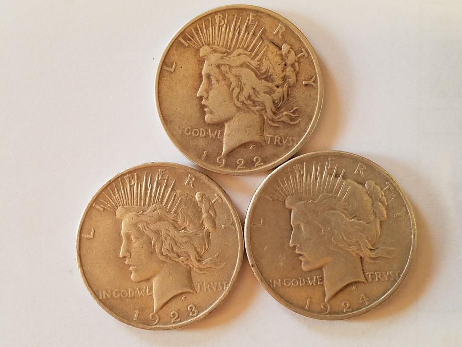 3 PEACE DOLLARS. (1922, 1923,1924)