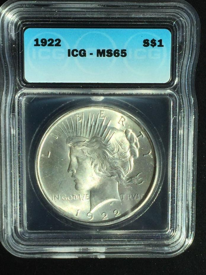 1922 Peace Dollar MS 65 - 90% silver - Very Nice beautiful bright white luster