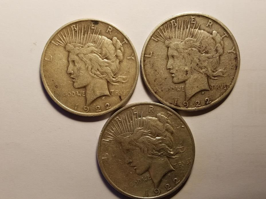 3 PEACE DOLLARS (1922-P, D and S)