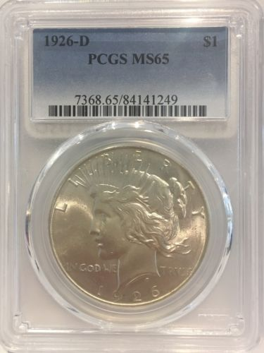 1926-D $1 Peace Silver Dollar PCGS MS 65 US Rare Silver Coin