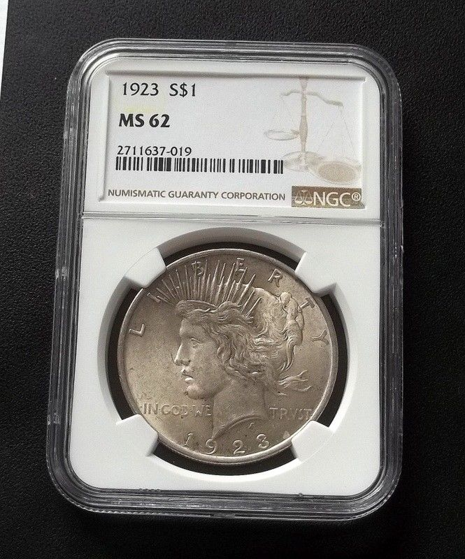 1923 Peace Silver Dollar - Philadelphia Mint - NGC MS62 -
