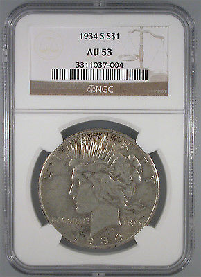1934-S Peace Dollar AU-53 NGC Certified