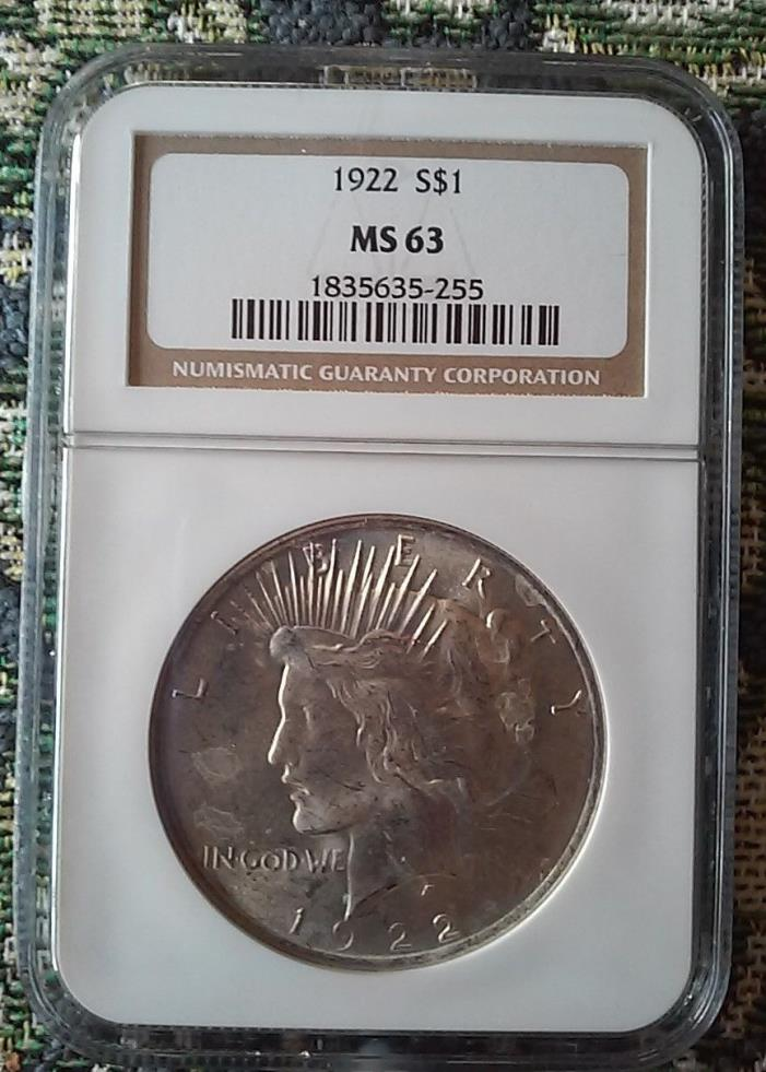 1922 Peace Dollar - NGC - MS63 - Nice Coin - Personal Collection