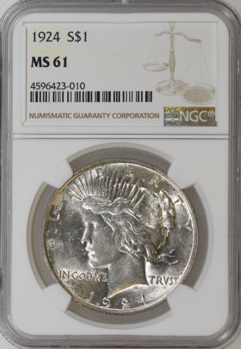 1924-P NGC MS61 Peace Silver Dollar Nice Strike Strong Luster - I-10806