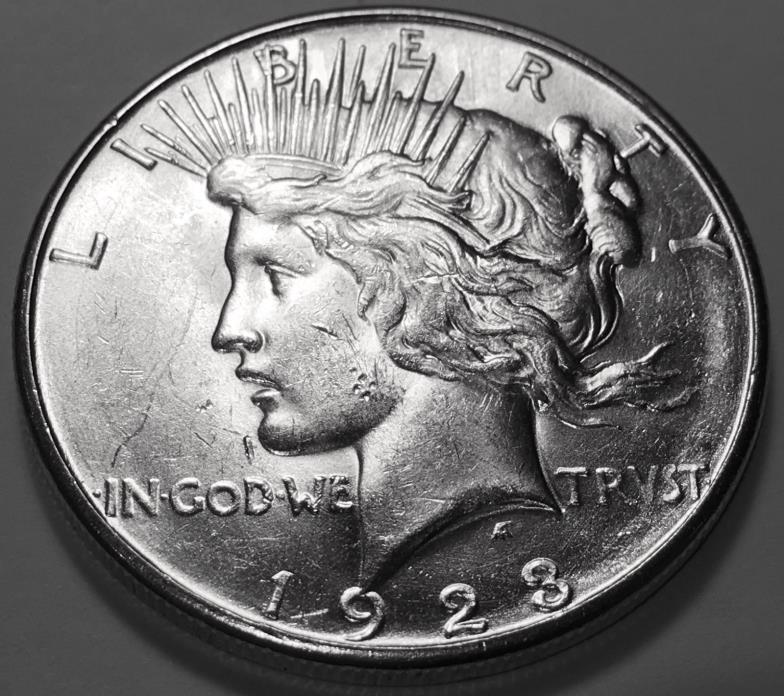 1923 S  PEACE  DOLLAR  CHOICE BU #2