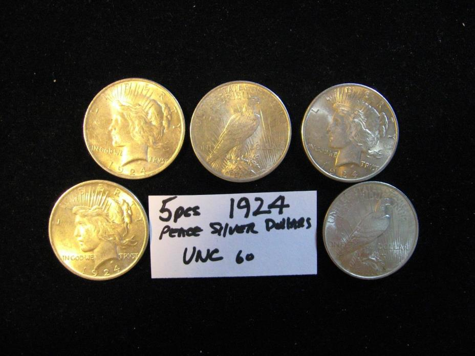 5 PCS PEACE SILVER DOLLARS ALL 1924-P ALL UNC. FREE SHIPPING
