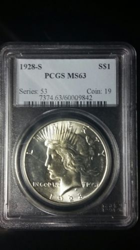 1928-S. PEACE  SILVER DOLLAR.  PCGS  MS 63